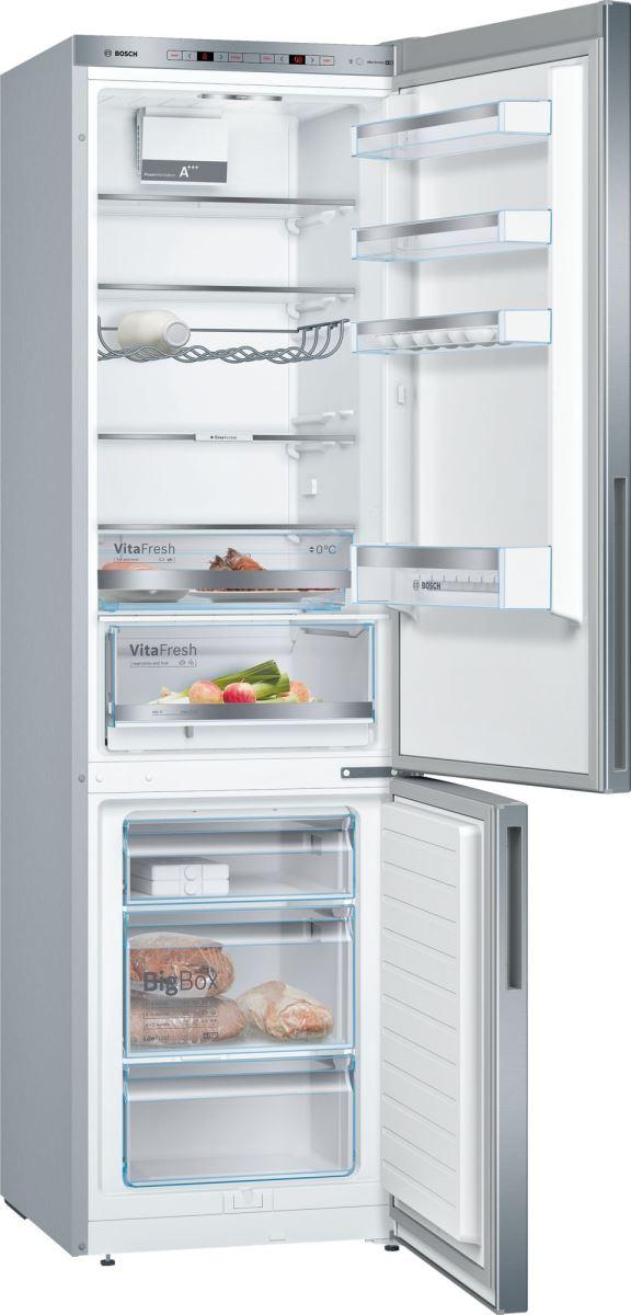 Combina frigorifica Bosch KGE39VL4A, Low Frost, 337 l, A+++, VitaFresh, ChillerBox, H 201 cm, Inox Look