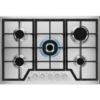 Plita incorporabila Electrolux KGS7536SX, Gaz, 5 Arzatoare, WOK, Gratare fonta, 75 cm, Inox