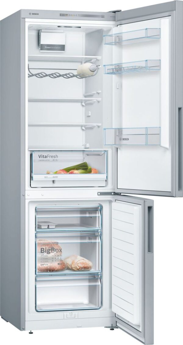 Combina frigorifica Bosch KGV36VL32S, 309 l, A++, H 186 cm, Argintiu