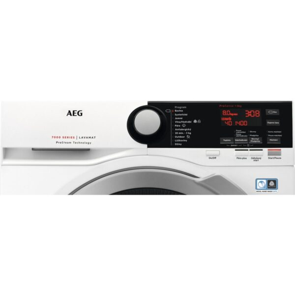 Masina de spalat rufe AEG L7FBE48S, 8 kg, 1400 RPM, A+++ -30%, ProSteam, ProSense, Eco TimeSave, OKOInverter, Alb, Panel Alb/Negru