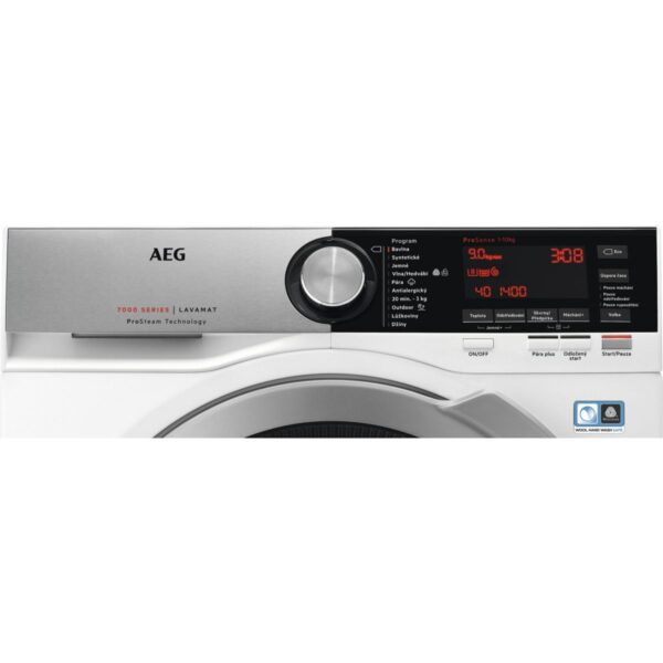 Masina de spalat rufe AEG L7FEC41S, 10 kg, 1400 RPM, A+++ -30%, ProSteam, ProSense, Eco TimeSave, OKOInverter, Alb, Panel Argintiu/Negru