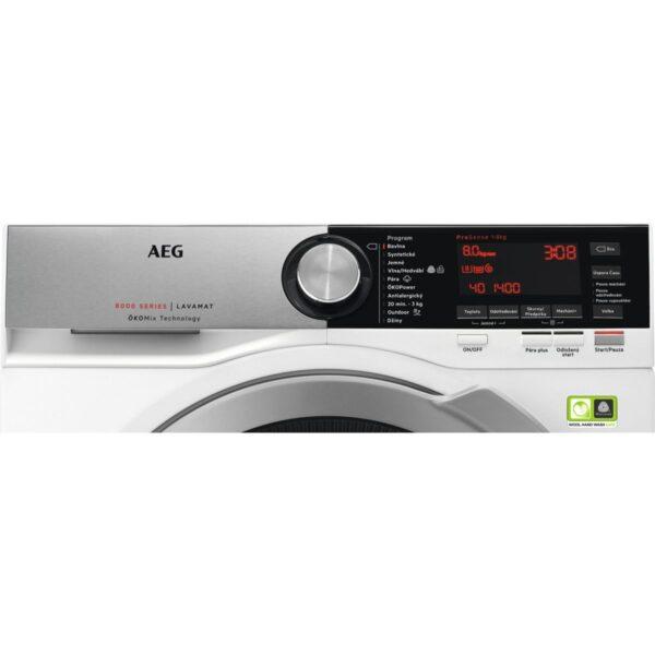 Masina de spalat rufe AEG L8FEC68S, 8 kg, 1600 RPM, A+++ -50%, OKOMix, ProSense, OKOPower, OKOInverter, Alb, Panel Argintiu/Negru