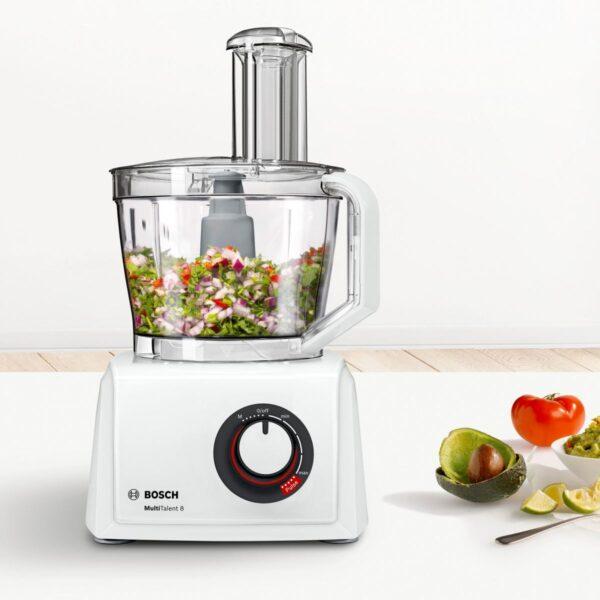 Robot de bucatarie Bosch MC812W872, 1250 W, Functie Pulse, Viteza variabila, Vas 3.9 L, Blender 1.5 L, Discuri feliere, Storcator fructe si legume, Tel, Alb
