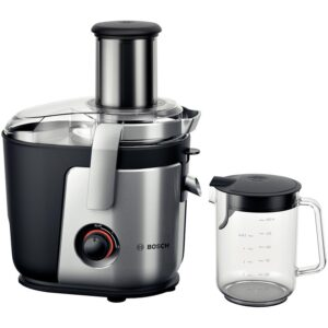 Storcator de fructe si legume Bosch MES4000, 1000 W, Disc razuire ceramic, 2 viteze, 1.5 l, Argintiu/Negru