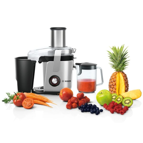 Storcator de fructe si legume BOSCH VitaJuice MES4010, 1200 W, Cutit ceramic, 3 viteze, 1.5 l, Argintiu/Negru