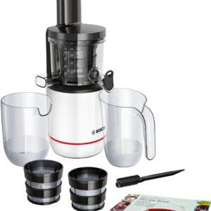 Storcator de fructe cu melc Bosch MESM500W, 150W, 55 RPM, 2 filtre (fin, gros), Alb/Negru