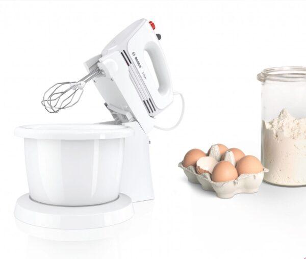 Mixer cu bol Bosch CleverMixx MFQ2600W, 375 W, 4 viteze+Turbo, Accesorii frământare, Accesorii mixare, Vas plastic, Alb/Gri inchis