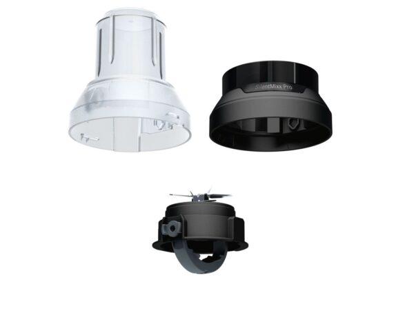 Blender de masa Bosch SilentMixx MMB64G6M, 800 W, Vas sticlă ThermoSafe 2.3 L, Spatulă, Minitocator, 3 programe automate pentru sfărâmare gheață, reglare continuă a vitezei cu indicator LED și funcție Pulse, Negru/Argintiu