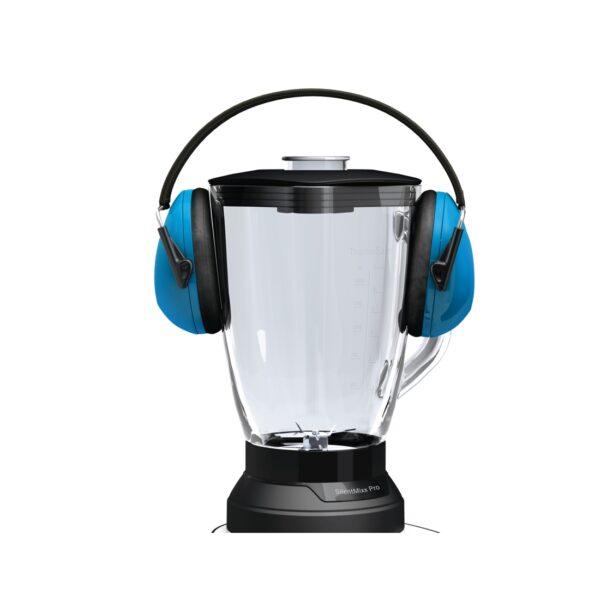 Blender de masa Bosch SilentMixx Pro MMB66G3M, 900W, 2.3 l, Vas sticlă ThermoSafe, filtru pentru smoothie, mini-tocător, 3 programe automate pentru sfărâmare gheață, mărunțire și mixare la viteza maxima, reglare continuă a vitezei cu indicator LED , Negru