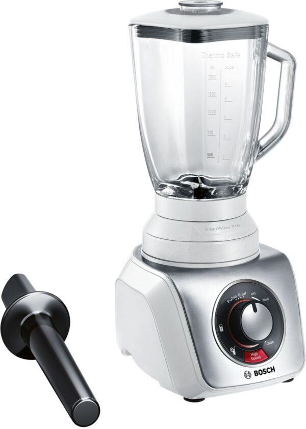 Blender de masa Bosch SilentMixx MMB66G5M, 900 W, Vas sticlă ThermoSafe 2.3 L, Spatulă, Minitocator, 3 programe automate pentru sfărâmare gheață, reglare continuă a vitezei cu indicator LED și funcție Pulse, 20.000 rpm, Alb/Argintiu
