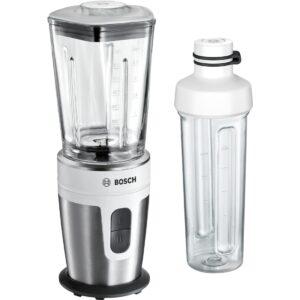 Blender de masa Bosch VitaStyle Mixx2Go MMBM7G2M, 350W, 0.6 l, Vas sticlă ThermoSafe, 2 trepte de viteză, sticlă de 500 ml, alb / inox polisat