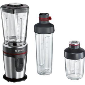 Blender de masa Bosch VitaStyle Mixx2Go MMBM7G3M, 350W, 0.6 l, Vas sticlă ThermoSafe, 2 trepte de viteză, inel LED pentru modul de operare, sticlă de 500 ml & chopper de 200 m, negru / inox polisat