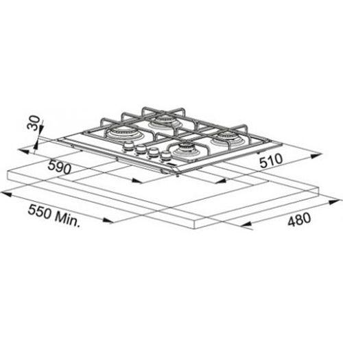 Plita incorporabila Franke Multi Cooking MR FHMR 604 4G WH E , 4 arzatoare gaz, 60 cm, Alb