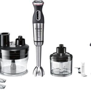 Blender de mână Bosch MaxoMixx MS8CM6190, 1000 W, 12 viteze, Funcție turbo, Accesoriu robot de bucătărie, Minitocător 0.45 L, Vas gradat 0.6 L, Tel, Inox
