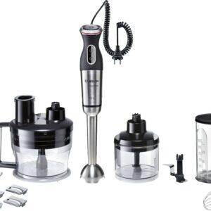 Blender Bosch MaxoMixx MSM88190, 800 W, 12 Viteze, Functie Turbo, QuattroBladePro, Negru/Inox