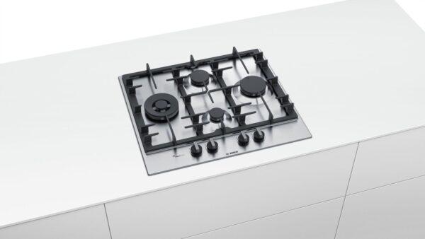 Plita incorporabila Bosch PCI6A5B90, Serie 6, 60 cm, inox, plita pe gaz cu tehnologie FlameSelect, 4 arzatoare, 1 WOK, suport din fonta