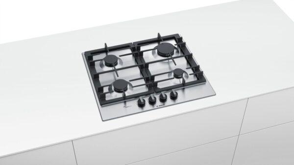 Plita incorporabila Bosch PCP6A5B90, Serie 6, 60 cm, inox, plita pe gaz cu tehnologie FlameSelect, 4 arzatoare, suporturi din fonta