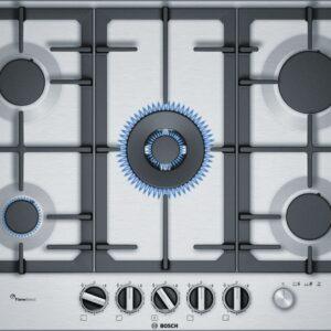 Plita incorporabila Bosch PCR7A5M90, Serie 6, 75 cm, inox,plita pe gaz cu tehnologie FlameSelect, 5 arzatoare, 1 WOK, suporturi din fonta