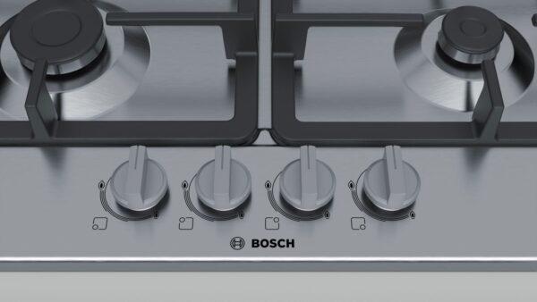 Plită incorporabilă Bosch Serie 4 PGH6B5B90, Gaz, 4 arzătoare, Arzător Wok, Aprindere la 1 singură mână, Siguranţă flacără, Grătare fontă, 60 cm, Inox