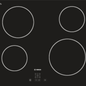 Plita incorporabila Bosch PKE611D17E, Vitroceramica, 4 zone gatit, Touch control, 60 cm, Sticla neagra