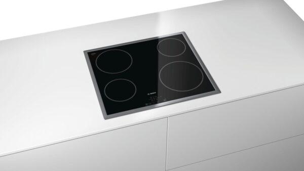 Plita incorporabila Bosch PKE645B17E, Serie 4, 60 cm, plita vitroceramica radianta, control TouchSelect, 4 zone de gatit HighSpeed, rama decor