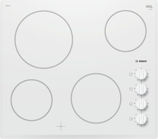 Plită incorporabilă Bosch Serie 2 PKE652CA1E, 60 cm, Vitroceramica, 4 zone electrice HighSpeed, Butoane laterale, Alba