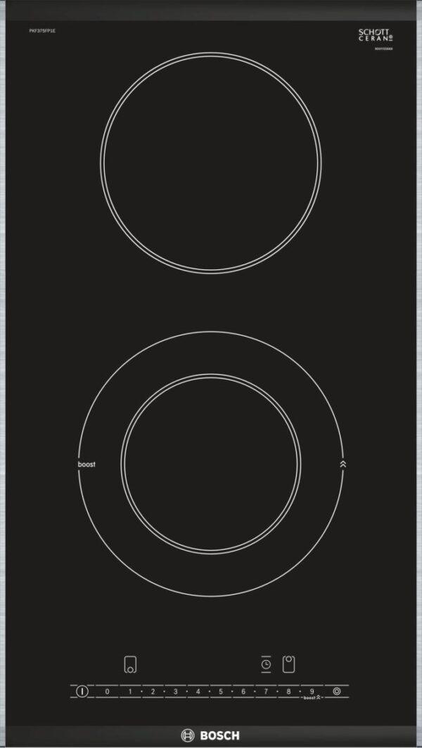 Plita incorporabila Bosch Domino PKF375FP1E, Serie 6, plita vitroceramica radianta, 30 cm, control DirectSelect, 2 zone de gatit (1 zona cu dublu circuit), PowerBoost