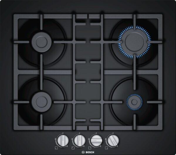 Plită incorporabilă Bosch Serie 4 PNP6B6B90, Gaz, 4 arzătoare, Aprindere la 1 singură mână, Siguranţă flacără, Grătare fontă, 60 cm, Sticlă termorezistentă neagră