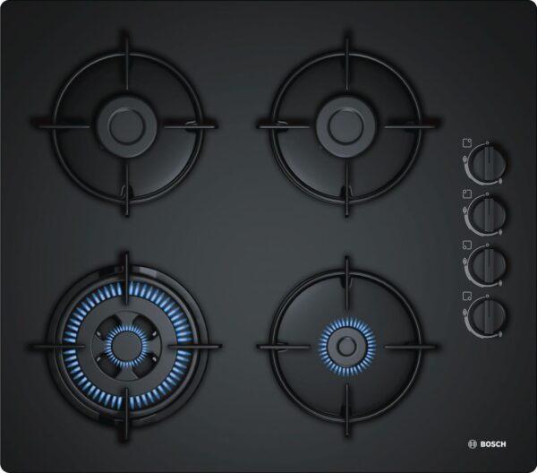 Plita incorporabila Bosch POH6B6B10, 4 Arzatoare gaz, Wok, 60 cm, Sticla neagra