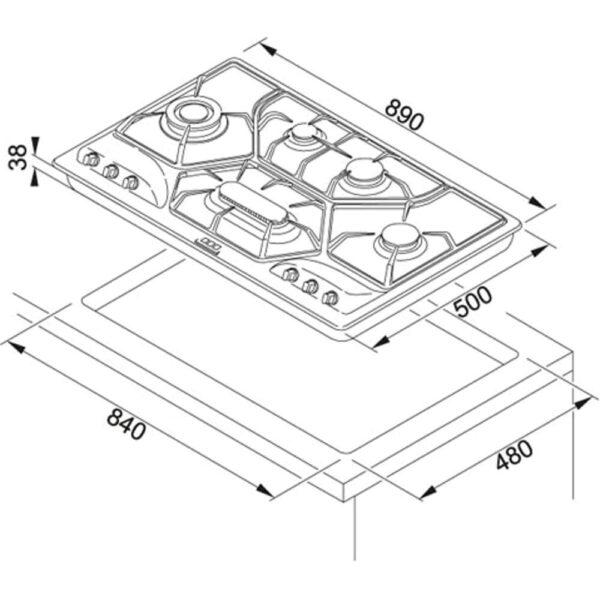Plita incorporabila Franke Opera POI 6 3GAV-D-O, 6 arzatoare gaz, 90 cm, Gratare din fonta, Inox