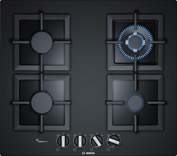 Plita incorporabila Bosch PPH6A6B20, Serie 6, 60 cm, sticla neagra, plita pe gaz cu tehnologie FlameSelect, 4 arzatoare, 1 WOK, suporturi independente din fonta