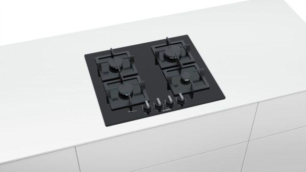 Plita incorporabila Bosch PPP6A6B20, Serie 6, 60 cm, sticla neagra, plita pe gaz cu tehnologie FlameSelect, 4 arzatoare, suporturi independente din fonta