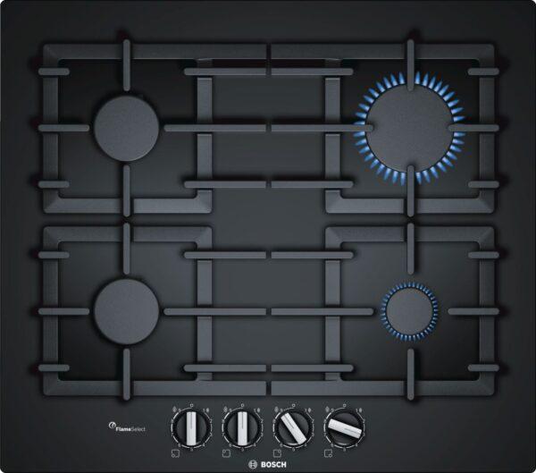 Plita incorporabila Bosch PPP6A6B90, Serie 6, 60 cm, sticla neagra, plita pe gaz cu tehnologie FlameSelect, 4 arzatoare, suporturi din fonta
