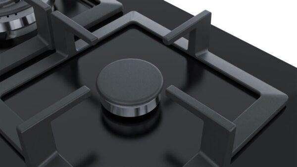 Plita incorporabila Bosch PPQ7A6B20, Serie 6, 75 cm, sticla neagra, plita pe gaz cu tehnologie FlameSelect, 5 arzatoare, 1 WOK, suporturi independente din fonta