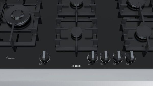 Plită incorporabilă Bosch Serie 6 PPS9A6B90, 90 cm, 5 arzatoare gaz (1 WOK) FlameSelect, Suporturi din fonta, Sticlă cuarț termorezistentă securizată, negru