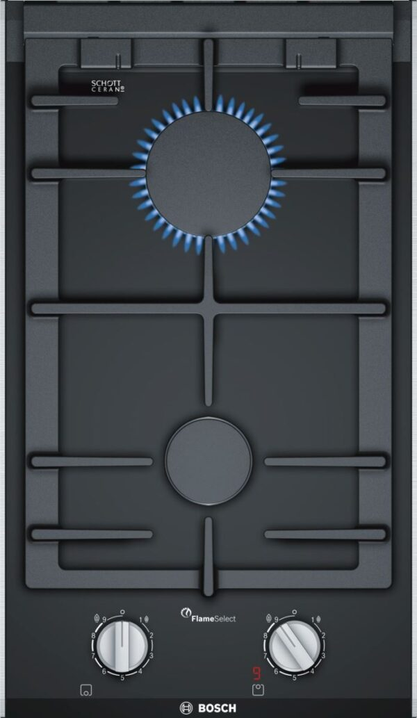 Plita incorporabila Bosch Domino PRB3A6D70, Serie 8, plita pe gaz cu tehnologie FlameSelect, 30 cm, vitroceramica, 2 arzatoare, suport vase din fonta