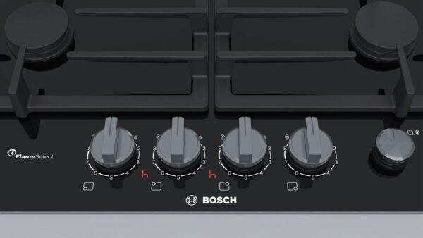 Plita incorporabila Bosch PRP6A6N70, 4 zone gaz FlameSelect, 60 cm, suporturi din fonta, Vitroceramica neagra