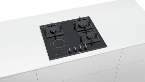 Plita incorporabila Bosch PSY6A6B20, Serie 6, 60 cm, mixta (3 arzatoare gaz, 1 zona de gatit radianta HighSpeed), FlameSelect, suprafata vitroceramica, suporturi din fonta