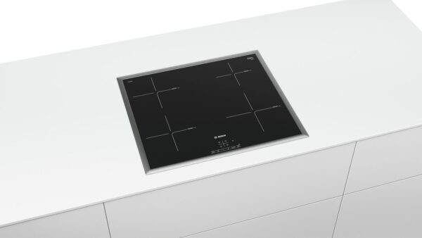 Plita incorporabila Bosch PUE645BB2E, Serie 4, 60 cm, plita vitroceramica cu inductie, control TouchSelect, 4 zone de gatit prin inductie, PowerBoost, rama design