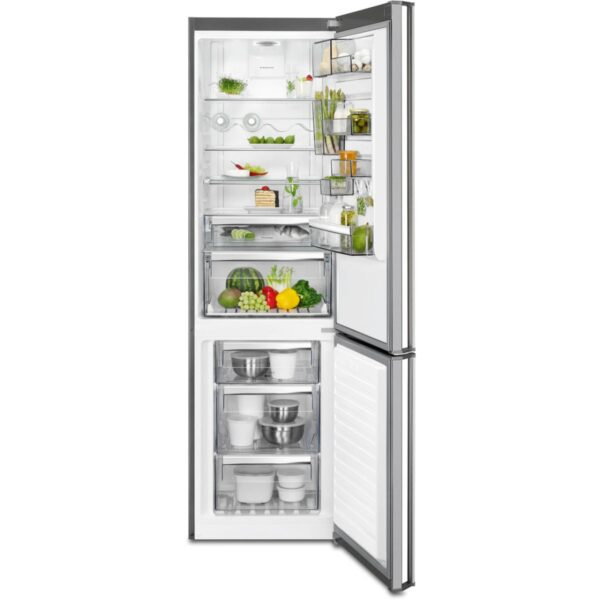 Combina frigorifica AEG RCB83724MX, No Frost Inteligent, 341 l, Clasa A++, Display, H 200 cm, Inox antiamprenta