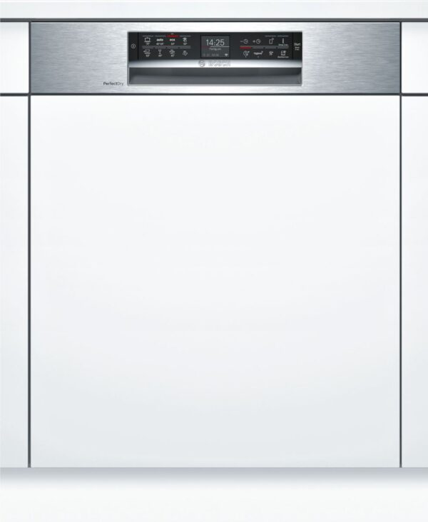 Masina de spalat vase Bosch SMI68TS06E, Partial incorporabila, 14 seturi, 8 programe, 60 cm, Clasa A++, Inox