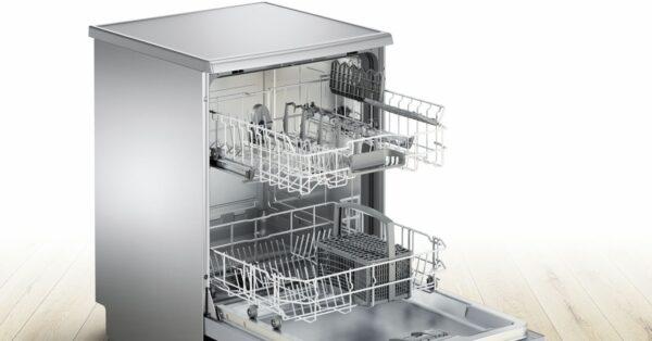 Masina de spalat vase Bosch Serie 2 SMS25AI05E Silence Plus, Independenta, 60 cm, 12 seturi, 5 programe, A++, VarioSpeed Plus, HalfLoad, Inox/Silver