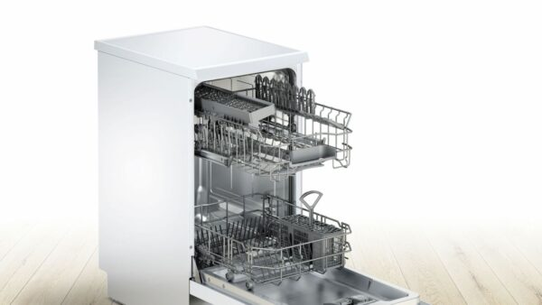 Masina de spalat vase Bosch Serie 2 SPS25CW05E Silence Plus, Independenta, 45 cm, 9 seturi, 6 programe, A+, VarioSpeed Plus, HalfLoad, Alb