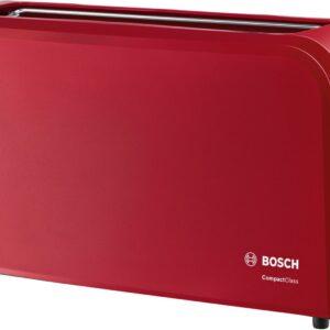 Prajitor de paine Bosch CompactClass TAT3A004, 980 W, fanta lunga, 2 felii, reglaj electronic, suport chifle integrat, Rosu