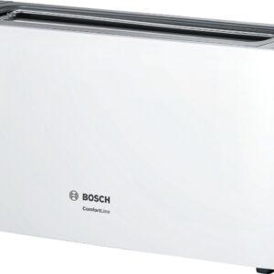 Prajitor de paine Bosch ComfortLine TAT6A001, 1090 W, fanta lunga, 2 felii, reglaj electronic, suport chifle integrat, Alb/gri
