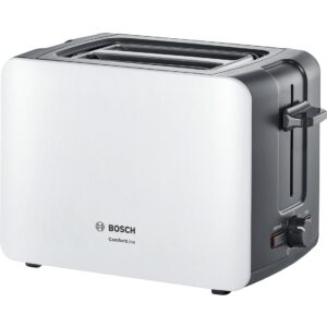 Prajitor de paine Bosch ComfortLine TAT6A111, 1090 W, Compact, Reglaj electronic, Carcasa termoizolanta, Alb/Antracit
