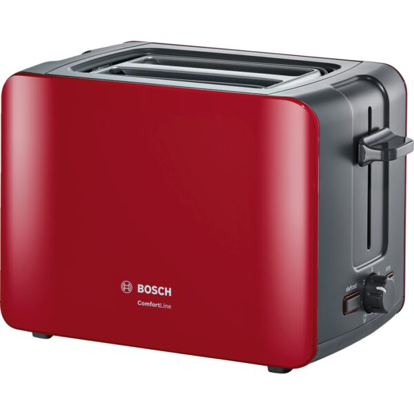 Prajitor de paine Bosch ComfortLine TAT6A114, 1090 W, Compact, Reglaj electronic, Carcasa termoizolanta, Rosu/Antracit
