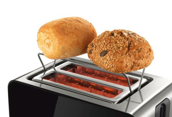 Prajitor de paine Bosch TAT7203, 1050 W, compact, 2 felii, reglaj electronic, suport chifle integrat, Inox/Negru