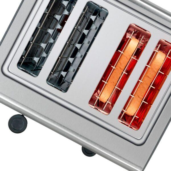 Prajitor de paine Bosch TAT7S45, 1800 W, 4 felii, Dezgheţare, Reîncălzire, Tastă Stop, Negru/argintiu