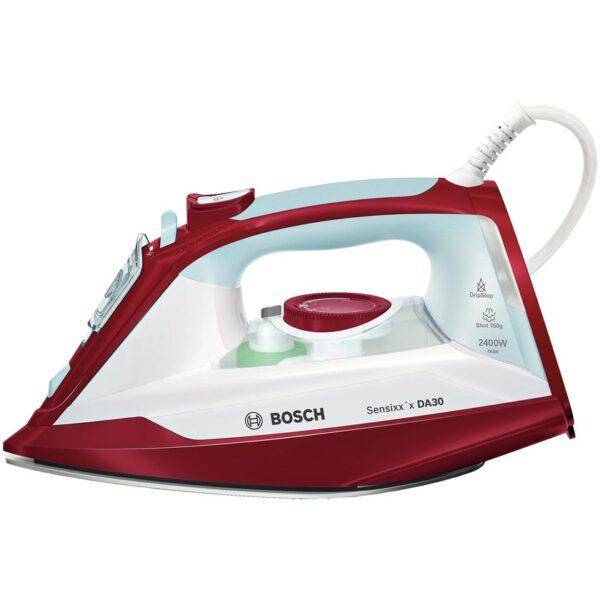 Fier de calcat Bosch Sensixx'x DA30 TDA3024010, Ceranium-Glissee, 2400 W, Alb/Rosu